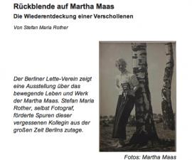 Die Ausstellung über die jüdische Fotografin Martha Maas von Stefan Rother