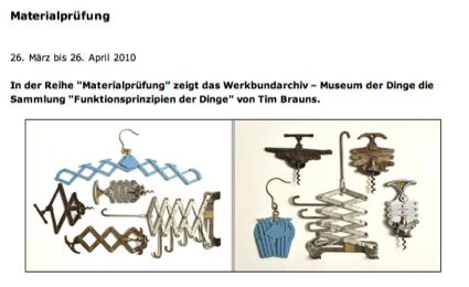 Ausstellung im Werkbundarchiv -Museum der Dinge